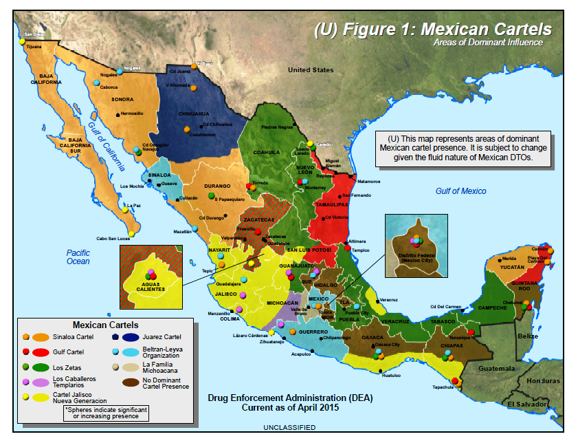2015 map of major cartels operating in mexico