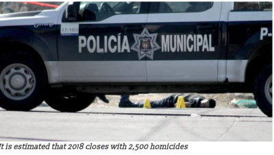 It is estimated that 2018 closes with 2,500 homicides:
